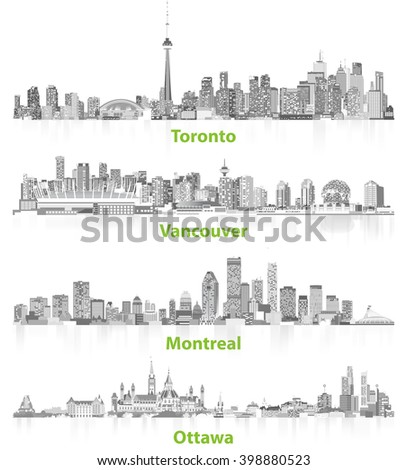 abstract illustrations of canadian urban city skylines in grey scales on white background - stock vector