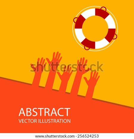 Abstract image in orange. hands - support and help concept - stock vector