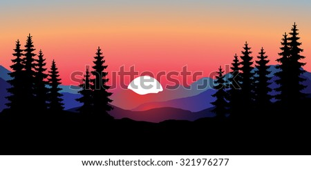 Abstract image of a sunset, the dawn sun over the mountains in the background and trees in the foreground. Mountain landscape. Forest mountains in the background. Picture for conversion. vector  - stock vector