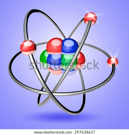 Abstract image of an atom with electrons - stock vector