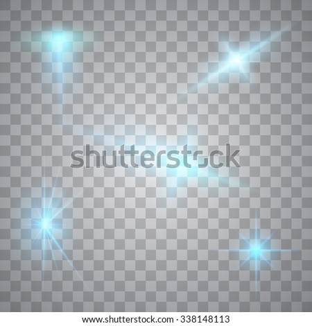 Abstract image of lighting flare. Set of blue neon lights - stock vector