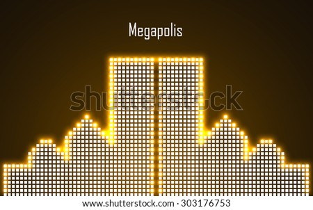 Abstract image of megalopolis in neon. Vector illustration. Eps 10 - stock vector
