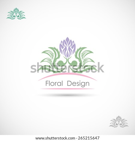 Abstract image of the label with flower - stock vector