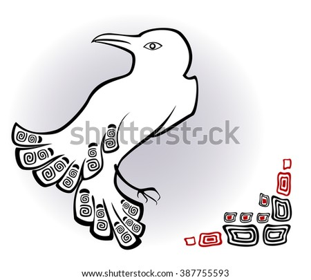 Abstract image of white raven. EPS10 vector illustration. - stock vector