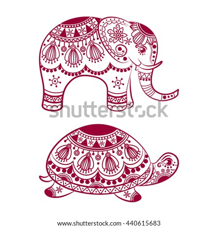 Abstract Indian elephant with turtle. Carved elephant and turtle. Stylized fantasy patterned elephant and turtle. Hand drawn vector illustration with traditional oriental floral elements.   - stock vector