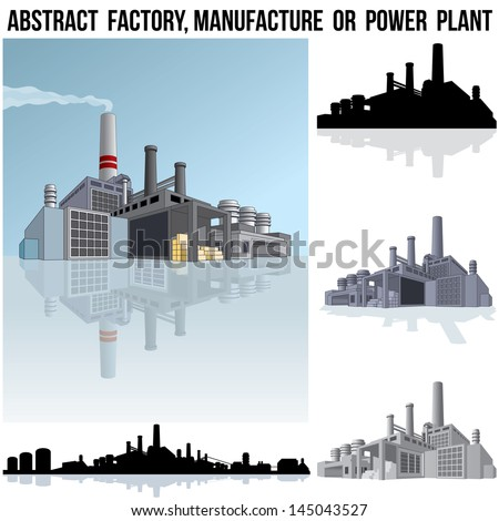 Abstract Industrial Factory, Manufacture Building or Power Plant. 3D Vector Graphics - stock vector