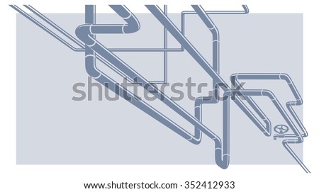 Abstract Industrial Vector Background with chaotic pipeline construction - stock vector