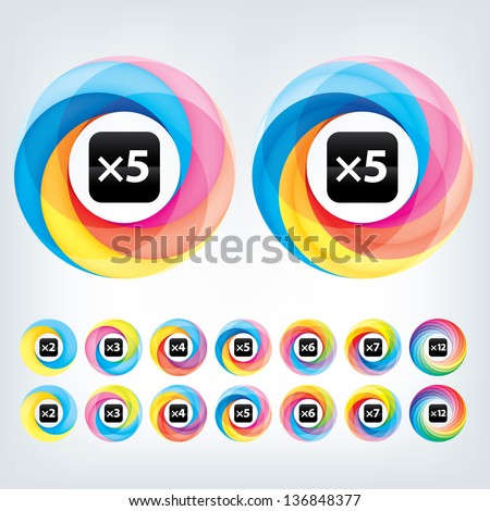 Abstract Infinite loop logo template. Corporate icons. 2,3,4,5,6,7 & 12 Pieces Shapes - stock vector