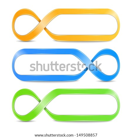 Abstract infinity symbols, vector eps10 illustration - stock vector