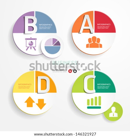 Abstract infographic circle Design Minimal  style  template / can be used for infographics / numbered banners / horizontal cutout lines / graphic or website layout vector - stock vector