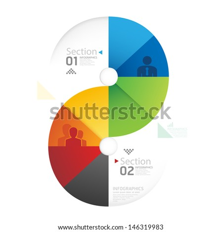 Abstract infographic Design Minimal circle shape style template / can be used for infographics / numbered banners / horizontal cutout lines / graphic or website layout vector - stock vector