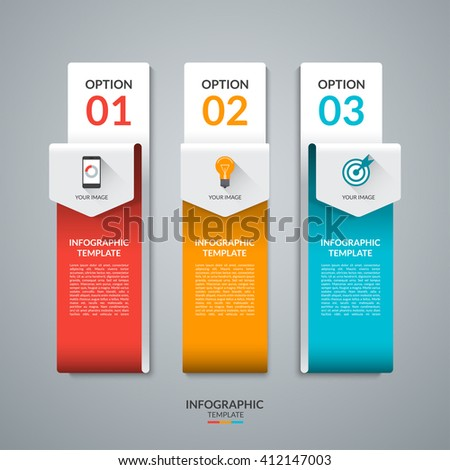 Abstract infographic template in the form of curved paper arrows. Vector banner with three tabs, steps, parts, options. Can be used for data visualization, workflow layout, chart, diagram, web design - stock vector