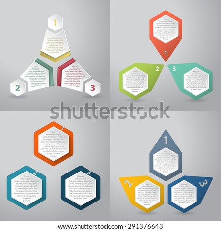 Abstract infographics background design with hexagon elements - stock vector