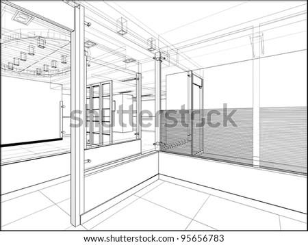 Abstract Interior Construction Vector 222 - stock vector