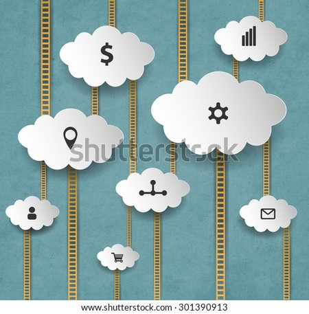 Abstract Internet Marketing Background With Clouds And Stairs - stock vector