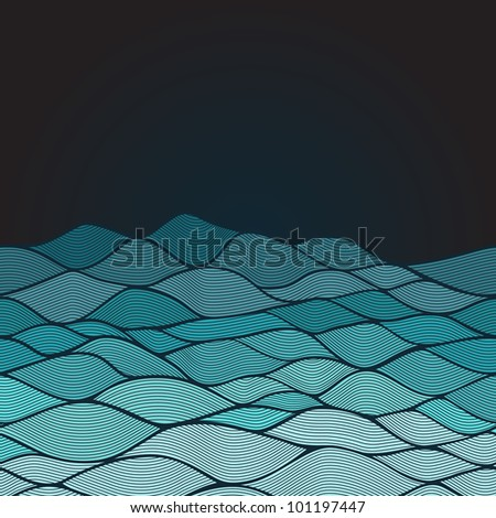 Abstract invitation card of waves look like ocean. Template frame design for card. - stock vector