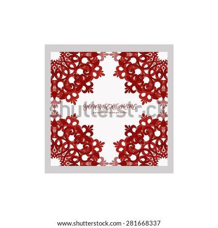 Abstract invitation card with abstract round pattern in bright and deep and saturated red color. Template frame design for card, banner on white - stock vector