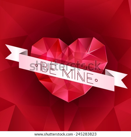 Abstract isolated diamond red heart .Valentine's day greeting card, invitation, banner. Vector EPS 10 illustration.  - stock vector