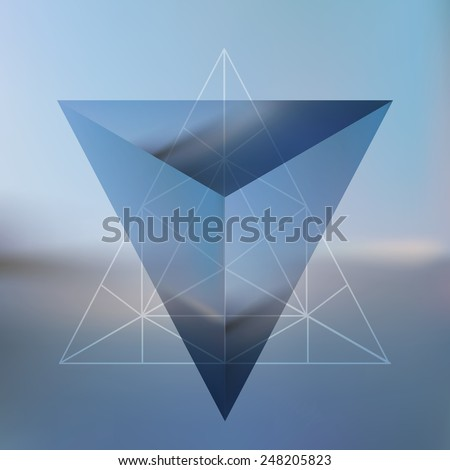Abstract isometric pyramid with the reflection of the environment and low poly triangles on blurred background. Vector Minimalistic blurry backdrop. Futuristic object hovering in the air. - stock vector