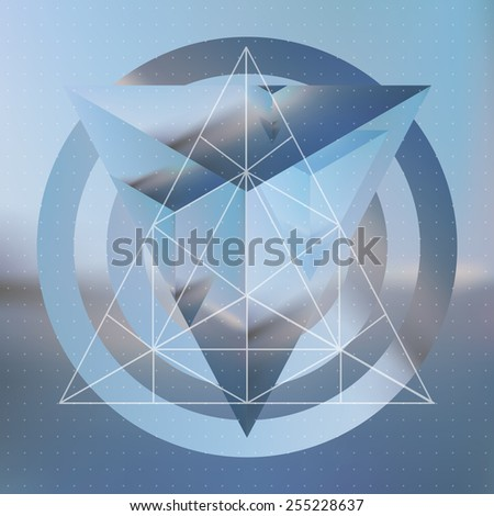 Abstract isometric pyramid with the reflection of the environment and low poly triangles on blurred background. Vector multifunctional blurry backdrop. - stock vector