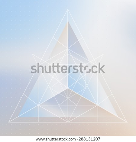 Abstract isometric pyramid with the reflection of the environment and low poly triangles on blurred background. Vector multifunctional blurry backdrop in pastel shades. - stock vector