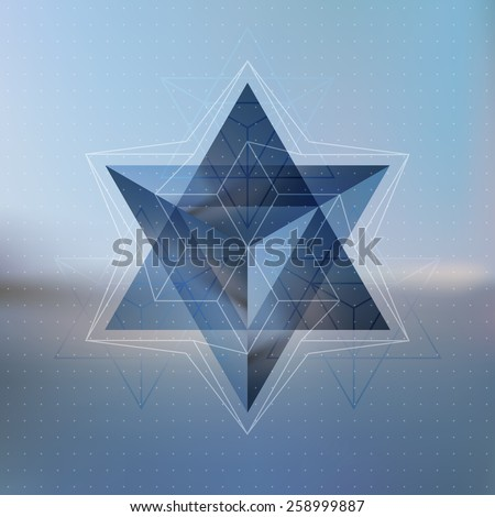 Abstract isometric star with the reflection of the environment and low poly triangles on blurred background. Vector structure. - stock vector