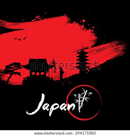 Abstract Japanese Background, Silhouette of geisha praying at shrine on brush stroke - stock vector