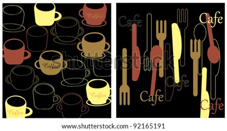 Abstract kitchen inspired wallpapers - stock vector