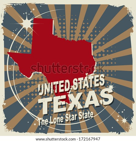 Abstract label with name and map of Texas, vector illustration - stock vector