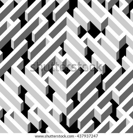 Abstract labyrinth. Geometrical seamless pattern. White geometrical background. Abstract pattern. Vector illustration - stock vector