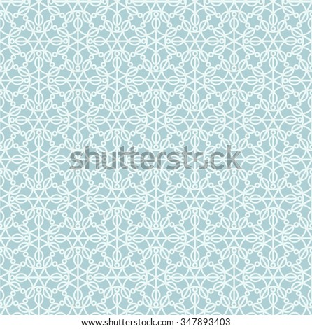 Abstract lace pattern. Vector seamless light blue geometric background. - stock vector
