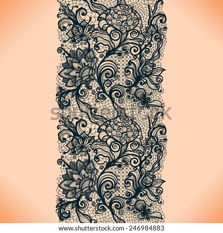 Abstract lace ribbon vertical seamless pattern. Template frame design for card. Lace Doily. Can be used for packaging, invitations, and template. - stock vector