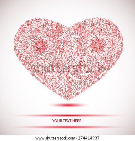 abstract lacy red heart - stock vector