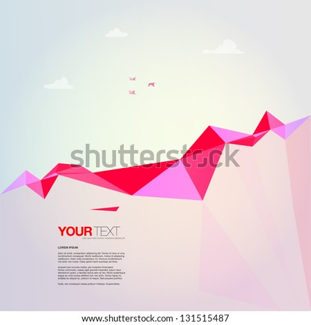Abstract landscape design vector background with colorful rocks, flying origami birds and clouds - stock vector
