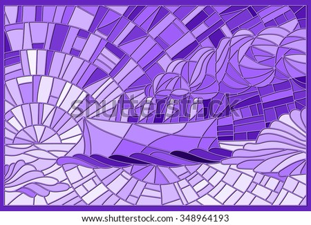 Abstract landscape in the style of stained glass with the steamer on a sky background, ice and sun - stock vector
