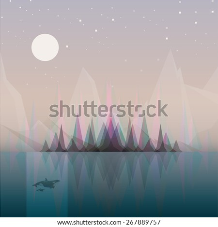 abstract landscape vector illustration concept with subtle aurora borealis effect appearing behind the forest trees reflecting in the ocean water. Night scenery with moonlight casting light on whales. - stock vector