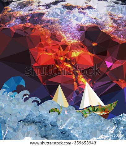 Abstract landscape with sea, ship and storm clouds - stock vector