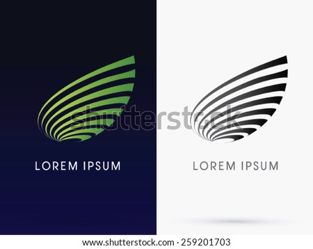 Abstract Leaf, designed using green line curve, logo, symbol, icon, graphic, vector. - stock vector