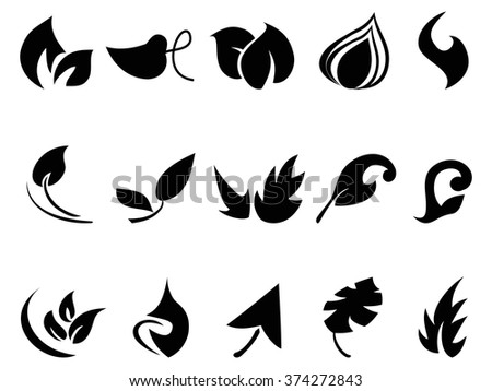 abstract leaves icons set - stock vector