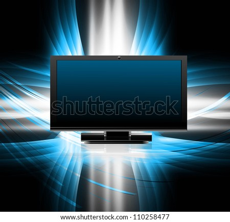 abstract led TV blank screen realistic reflection bright colorful vector illustration - stock vector