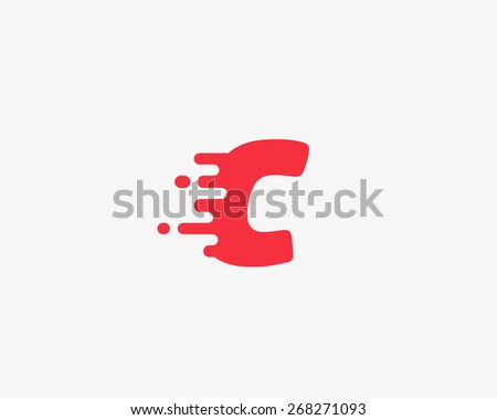 Abstract letter C logo design template.  Dynamic vector unusual font. Universal fast speed fire moving water quick energy drop icon. - stock vector