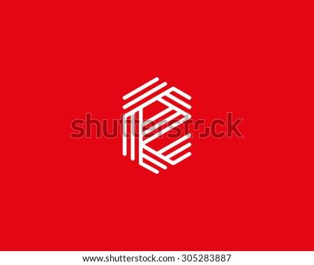 Abstract Letter E logo design template. Line vector symbol. Premium elegant sign mark icon - stock vector