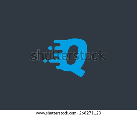 Abstract letter Q logo design template.  Dynamic vector unusual font. Universal fast speed fire moving water quick energy drop icon. - stock vector