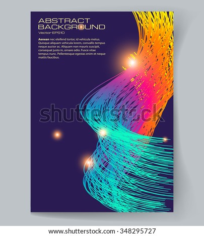 Abstract light background. Dark background with glowing rainbow spiral thin lines.  The illustration contains transparency and effects. EPS10  - stock vector