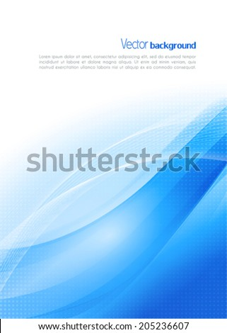 Abstract light blue dotted template of cover with wavy shape. Vector - stock vector