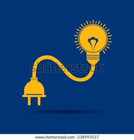 Abstract light-bulb with plug icon stock vector - stock vector
