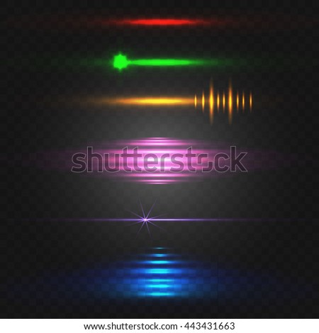 Abstract light. Colorful VECTOR set of glowing lines. Red, green, yellow, pink, blue.  - stock vector