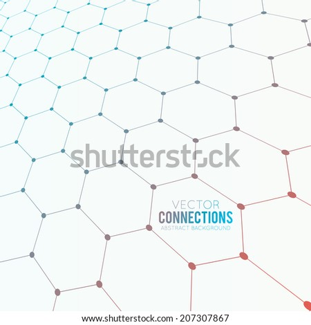 Abstract light perspective background with many dots connected with lines loooks like many hexagons with gradient blue to red fill - stock vector