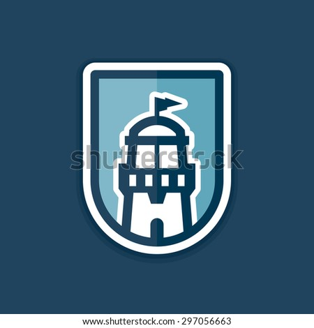 Abstract lighthouse icon logo graphic in badge shape - stock vector