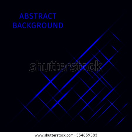 Abstract lights blue strips on dark background - stock vector